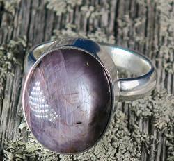 Hopeasormus rubiini 18,5mm, ovaali kivi 13x15mm tähtirubiini nro1