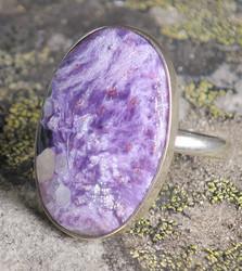 Hopeasormus tsharoiitti 22,5mm ovaali kookas kivi 20x29mm nro7
