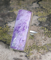 Hopeasormus tsharoiitti  21,5mm, kulmikas kookas kivi 13x35mm nro6