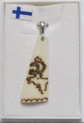 Riipus: Poroluuhun poltettu poron kuva, riipuslenkki 925-hopea