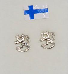 Nappikorvakorut Suomileijona 925-hopea