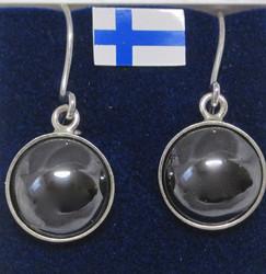 Korvakorut hematiitti 10mm pyöreä, kivi istutettu 925-hopeaan