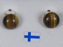 Klipsikorvakorut tiikerinsilmä 10mm, 925-hopea