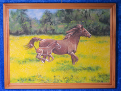 Kivimurskataulu: Varsa ja (emä) hevonen juoksee rypsipellossa.