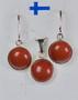 Korusetti korvakorut ja riipus punainen jaspis, pyöreä 10mm, 925-hopea