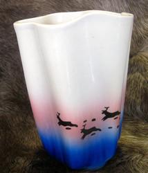 Maljakko: porot juoksee, sinipunainen, korkeus n.15cm