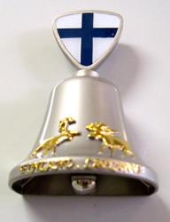 Magneetti kilikello jossa hirvi poro suomenlippu 42x66mm metallia