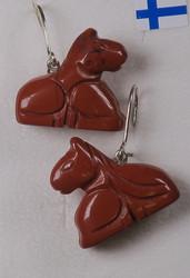 Korvakorut Hevonen 20mm, punainen jaspis
