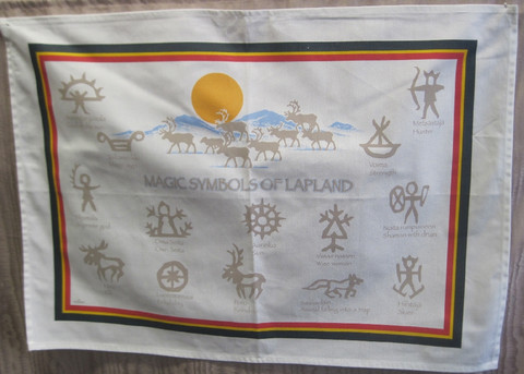 Keittiöpyyhe: Magic symbols of Lapland, 50x70cm,