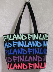 Kassi: canva bag s-koko, Finland, musta/sini/lila