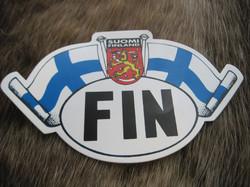 Tarra FIN ja liehuvat Suomenliput, vaakunaleijona 135x83mm
