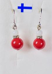Korvakorut helmiäinen punainen 8mm ja lumikvartsi, zirkonikoristein