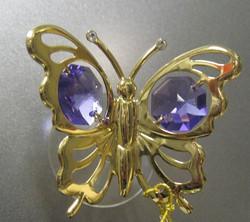 Kultakristalli: Perhonen, violetit kristallit, 24 karaatin kultaus, imukupilla ikkunaan tai peiliin (sun cacther)