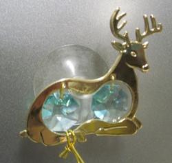 Kultakristalli: Poro, vihreät kristallit, 24 karaatin kultaus, imukupilla ikkunaan tai peiliin (sun cacther)