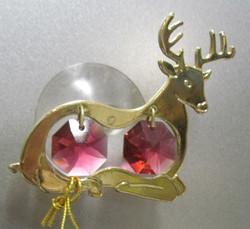 Kultakristalli: Poro, punaiset kristallit, 24 karaatin kultaus, imukupilla ikkunaan tai peiliin (sun cacther)
