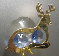 Kultakristalli: Poro, siniset kristallit, 24 karaatin kultaus, imukupilla ikkunaan tai peiliin (sun cacther)