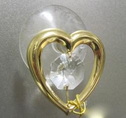 Kultakristalli: Sydän, kirkas kristalli, 24 karaatin kultaus (sun cacther)