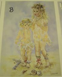korttikuva: keijut rannalla B, koko n. 7x10cm