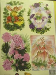 Korttikuva: A4 arkki kukkakeijut, 4 erilaista