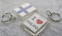 Avaimenperä: Suomen lippu / I love Finland, akryyli 42x67mm+lenkit