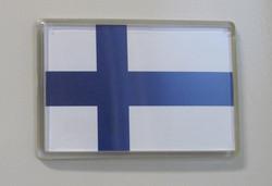Magneetti: Suomen lippu 96x66mm, akryyli