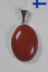Riipus punainen jaspis 17x24mm, 925-hopea