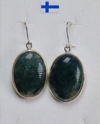 Korvakorut: Sammalakaatti, ovaali 18x24mm, 925-hopea-silver (oval3)