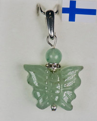 Riipus vihreä aventuriini perhonen, zirkonikoristein