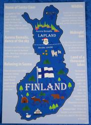 Postikortti Suomen kartta, englanniksi suomen esittelyjä