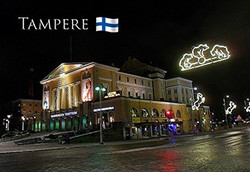 Magneetti Tampere yöllä, Tampereen Teatteri, Hämeenkatu, jouluvalot