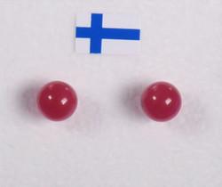 Nappikorvakorut: Kvartsi, punainen 'karpalo' 6mm, värjätty
