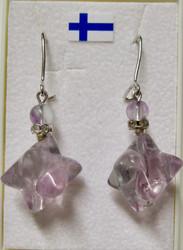 Korvakorut fluoriitti tähti zirkonikoristein  vaalea violetti