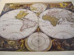 Juliste maapallon kartta, enkeleitä, Visscher 40x50cm