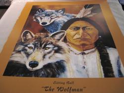 Juliste Intiaani Sitting Bull The wolfman ja kaksi sutta 40x50cm
