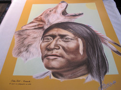 Juliste Otter Belt, Comanche intiaani ja susi  40x50cm