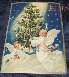 Joulukortti 2 enkeliä, joulukuusi ja tähtitaivas. ken13
