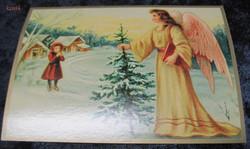 Joulukortti enkeli, joulukuusi ja tyttö. ken14