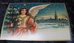 Joulukortti enkeli, joulukuusi ja harppu, kirkko taustalla. ken16