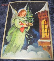 Joulukortti enkeli ja joulukuusi kirkon ikkunan takana. ken20