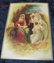 Joulukortti enkelit soittavat Jeesus-lapselle ja Marialle. ken21