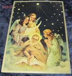 Joulukortti 3 enkeliä laulamassa Jeesus-lapselle. ken28