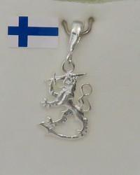 Riipus: Suomi-Leijona 15mm (kokonaispituus lenkin kanssa 20mm) 925-hopea-silver