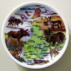 Seinälautanen 25cm Suomen kartta ja eläimiä