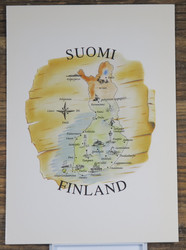 Postikortti Suomen kartta Suomi Finland