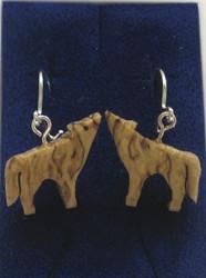 Korvakorut: susi, visakoivua, koukut 925-hopeaa