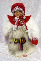Nukke: Joulupukin muori, 25cm, poronkarvapuku