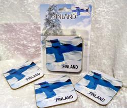 Lasinaluset 4kpl/setti, Finland, koko n.9cm , coasters