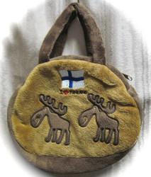 Käsilaukku Hirvi, I love Finland, suomenlippu, ruskea lapsille, kids