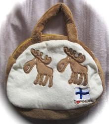 Käsilaukku Hirvi, I love Finland, suomenlippu, vaaleanruskea, lapsille