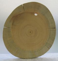 Lasinalunen: Kelopuuta, vahvuus 7-8mm, halkaisija n. 7x8cm, ripustamista varten 5mm reikä